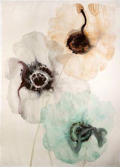 Lourdes Sanchez (Watercolor), 3 Anemones #6 2014, watercolor on paper
