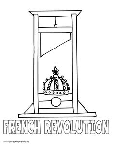 world history coloring pages printables french revolution guillotine