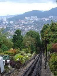 Penang, Malaysia - the funicular railroad to the top of Penang Hill