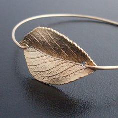 Bangle Bracelet Leaf - Gold $14.95