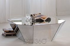 Otto Modern Coffee Table In Mirrored Glass By Cattelan Italia