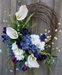Floral Wreath Easter Spring Wreath Summer by NewEnglandWreath Diy Wreath, Door Wreaths, Grapevine Wreath, Acorn Wreath, Wreath Ideas, Calla Lilies, Summer Wreath, Wreath Fall, Easter Wreaths