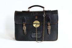 Vintage #Leather #Briefcase Diplomatic Bag with Royal Cypher by CrolAndCo, $225.00