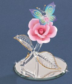 "Butterfly on Pink Rose Crystal Figurine 4.5"" ~ P4 325-N"