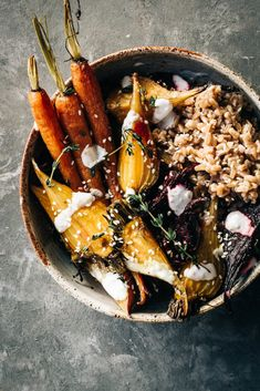 Beets, carrots and farrow bowls