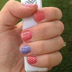 Poppy and White Polka Navy stripe