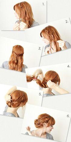 Hair Tutorial : how to make a braided updo orange hair style (Diy Hair Braids) Cute Braided Hairstyles, Bun Hairstyles, Pretty Hairstyles, Wedding Hairstyles, Step Hairstyle, Braided Updo, Shoulder Hair, Oui Oui, Good Hair Day