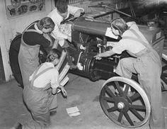 Women's Land Army tractor mechanics training.