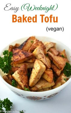 This Easy Baked Tofu is a great main dish for an easy weeknight meal. side dish for a potluck or even a protein for the veg folks at a Thanksgiving or Christmas meal. Trust me, add some baked sweet potatoes, creamy mashed potatoes and sweet natural cranberries to your plate with this tofu and it will make for a festive vegan meal.