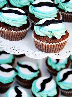 Cupcakes at a Little Man Mustache Party or baby shower or Mustache Cupcakes, Moustache Party, Mustache Theme, Mustache Birthday, Man Cupcakes, Little Man Party, Little Man Birthday, Baby Birthday, Birthday Ideas