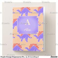 Purple Orange Stegosaurus Print Custom Folder Set; ArtisanAbigail at Zazzle