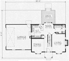 Colonial Style House Plan - 3 Beds 2.5 Baths 1439 Sq/Ft Plan #112-111 Main Floor Plan - Houseplans.com