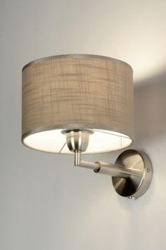 wandlamp 71814: modern, metaal, staal , rvs, stof, taupe, rechthoekig, langwerpig ...