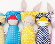Off Sleeping Bunny & Girl Doll Combo PDF Pattern 2479 image 1 Fabric Toys, Fabric Crafts, Sewing Crafts, Sewing Projects, Animal Sewing Patterns, Doll Patterns, Girl Dolls, Baby Dolls, Sleeping Bunny