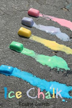 Ice Chalk  ...  This is the perfect kid activity for a hot summer day. It's art, science, and a sensory experience all in one. Mixed up the sidewalk paint (half cornstarch, half water, plenty of food coloring), poured it into ice cube trays, and froze it. Here is the link http://www.readingconfetti.com/2013/05/ice-chalk.html?m=1