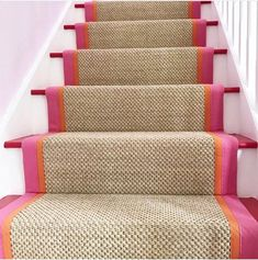 33 Awesome Painted Stairs Ideas To Beautify Your Interior Stairs are the most common place in the home to possess carpet, and yet they are also the trickiest. Choosing carpet for the stairs can be a bit more difficult than choosing carpet for other Staircase Runner, Sisal Stair Runner, Carpet Runner On Stairs, Striped Carpet Stairs, Carpet Staircase, Home Interior, Interior Design, Interior Architecture, Interior Stairs