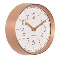 Copper And White Convex Wall Clock