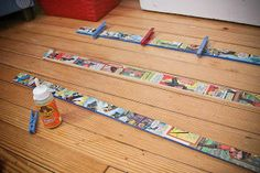 Comics Mod-Podged onto .86 cent yardsticks from home depot...attach clothespins spraypainted bright colors with gorilla glue and instant art or photo displays!