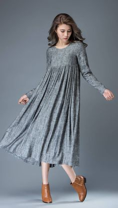 Casual Gray Dress - Comfortable Linen Loose-Fitting Long Sleeved Everday Marl Grey Midi-Length Woman's Dress C808