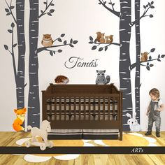 (3810n) #Nálepka na stenu - Stromoradie so #zvieratkami #artsablony