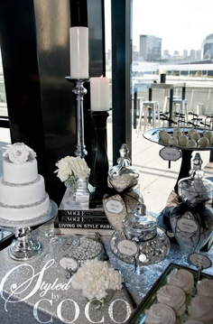 Black and white wedding theme. Chanel inspired wedding dessert buffet. Cake: Love and Lace Cupcakes, cookies: One Sweet Girl