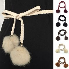 Hot Lady Waist Strap Fashion Casual Skinny Plaited Waistband Faux Fur Ball Belt #Unbranded