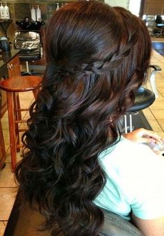 Bouffant puff, loose tapered curls and braid