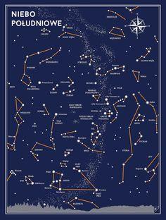 """ZESTAW MAŁEGO ASTRONOMA: Plakat """"Niebo północne"""" & """"Niebo Południowe"""" przedstawiają konstelacje widoczne na obu półkulach Ziemi. Przystosowany do wakacyjnego oglądania nieba, róża wiatrów ułatwia orientację względem kierunków świata. Idealny prezent dla małego odkrywcy! Plakaty wydrukowano na grubym niepowlekanym papierze archiwalnym (350g) Rozmiar 30 × 40 cm Każdy plakat jest sygnowany przez projektanta. Przedmiotem sprzedaży jest sam plakat, bez ramy. Kolory mogą się nieznacznie różni..."""