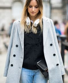 Layering for cool to cold weather, casual blue/black/grey with white shirt