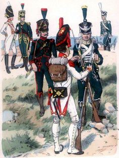 Westphalia-walking guard 1812 from left to right: officer of the grenadier guards, an officer and a jegrów elite Carabinieri-jegier, grenadier, jegier, an officer of the jegrów. Fig. R. Knotel.