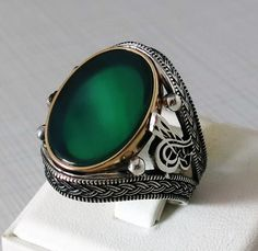 Handmade 925 Sterling Silver Natural Green Agate STONE Men's RING #C176