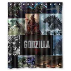 New Custom 12 Holes to Which Rings Attach Godzilla Shower Curtain 60  x 72    eBay