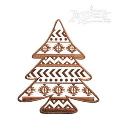 """Aztec Print Christmas Tree Embroidery Design. You get two designs and Sizes 3"""", 4"""" and 5""""."""