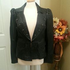 Leather jacket Soft as butter leather jacket with peplum like look. Wide collar with faux button detail and 1 hook closure.never worn INC International Concepts Jackets & Coats