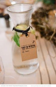 water carafe with kraft paper label #wedding