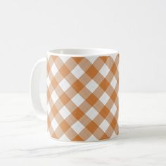 #trendy - #Apricot Orange Country Cottage Gingham Stripes Coffee Mug