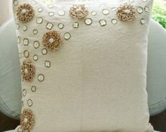 Jute Flowers - Throw Pillow Covers - Inches Jute Cotton Pillow Cover with Mother of Pearl from TheHomeCentric on Etsy. Saved to bedding/pillows. Toss Pillows, Diy Pillows, Linen Pillows, Cotton Pillow, Throw Pillow Cases, Decorative Throw Pillows, Cushions, Couch Pillows, Cotton Linen