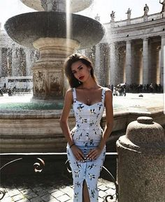 2019 Summer Women Padded Tank Dress Single Breasted Middle Slit Ladies High Waist Step – Top Of The World Mode Outfits, Fashion Outfits, Womens Fashion, Ladies Fashion Dresses, Dress Fashion, Fashion Clothes, Fashion Ideas, Cute Dresses, Beautiful Dresses