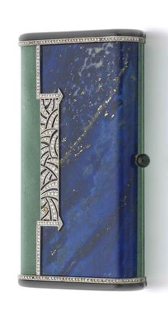 The Arnold and Barbara Burton Collection A French Art Deco lapis lazuli, nephrite, onyx and diamond set gold mounted minaudière by Van Cleef and Arpels, Paris, post-1919 third standard mark, signed 'Van Cleef, Arpels, Paris No. 78277'