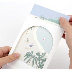 Dailylike Window illustration message card with envelope - Postcard Id Card Design, Book Design, Packaging Design, Branding Design, Images Vintage, Print Design, Graphic Design, Envelope Design, Postcard Design