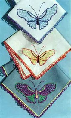 Butterfly Handkerchiefs | Crochet Patterns   This free pattern originally published by The Spool Cotton Company, Book No. 272, in 1951.