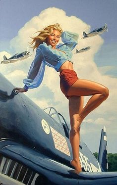 i soo want a pin-up girl tattoo. this one i think resembles me =], just not the airplanes