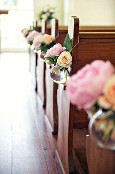 45 Breathtaking Church Wedding Decorations ❤ church wedding decorations aisle with blush roses in glass vase blume photography #weddingforward #wedding #bride