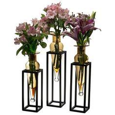 Danya B MC025 Single Vase Amphora Iron and Glass Stands - Set of 3 (black and amber)