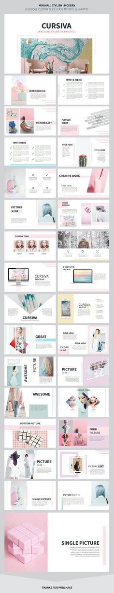 Cursiva Presentation Template - Creative #PowerPoint Templates Download here: https://graphicriver.net/item/cursiva-presentation-template/20287416?ref=alena994