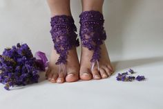 Browse unique items from byPassion on Etsy, a global marketplace of handmade, vintage and creative goods. Lace Bride, Bridal Lace, Wedding Lace, Wedding Garter, Purple Wedding, Bridal Sets, Wedding Sets, Foot Jewelry Wedding, Black Lace Gloves