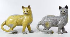 Lot 461: Asian Cloisonne Cat Figurines; Contemporary, pair of cats