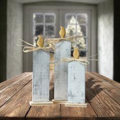 me ~ White Wood Christmas Candle Set - Christmas Decorations - Rustic Christmas Decor - Holiday … Primitive Christmas, Christmas Balls, Rustic Christmas, Christmas Crafts, Christmas Decorations, Xmas, Christmas Ornaments, White Christmas, Primitive Decor