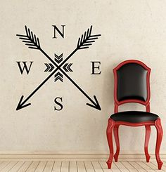 Wall Decals Arrows Compass Rose Arrow Tribal Nautical Navigate Ship Ocean Sea Wall Vinyl Decal Stickers Home Decor Bedroom Murals * More info could be found at the image url. Compass Drawing, Arrow Drawing, Compass Tattoo, Compass Art, Bedroom Murals, Home Decor Bedroom, Simple Compass, Wind Rose, Wine Logo