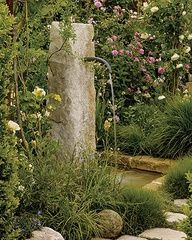 Pink and white David Austin roses surround an antique stone column fountain. Wonder if I could make a fountain like this out of concrete? Outdoor Water Features, Water Features In The Garden, Garden Fountains, Water Fountains, Garden Structures, Dream Garden, Garden Projects, Garden Inspiration, Beautiful Gardens